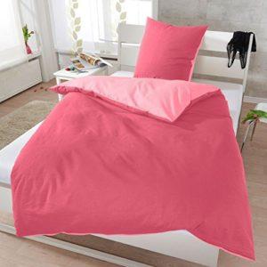 Hübsche Bettwäsche aus Seersucker - rosa 220x240 von Janine Design
