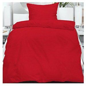 Traumhafte Bettwäsche aus Seersucker - rot 135x200 von Frottier Heimtexhandel