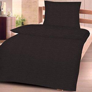 Traumhafte Bettwäsche aus Seersucker - schwarz 135x200 von daspasstgut