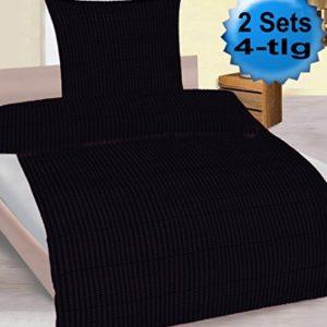 Traumhafte Bettwäsche aus Seersucker - schwarz 135x200 von KH-Haushaltshandel