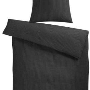 Kuschelige Bettwäsche aus Seersucker - schwarz 155x220 von Carpe Sonno