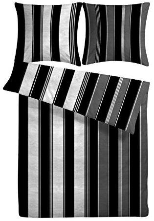 Schöne Bettwäsche aus Seersucker - schwarz weiß 155x220 von Carpe Sonno