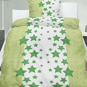 Traumhafte Bettwäsche aus Seersucker - Sterne grün 135x200 von KH-Haushaltshandel