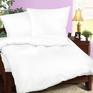Schöne Bettwäsche aus Seersucker - weiß 155x220 von Leben-Schlafen