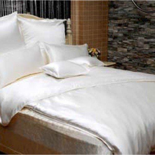 Hübsche Bettwäsche aus Seide - weiß 135x200 von HOWE-Deko