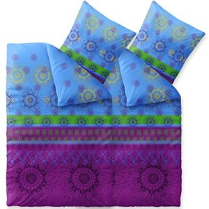 Hübsche Bettwäsche aus Baumwolle - blau 135x200 von CelinaTex