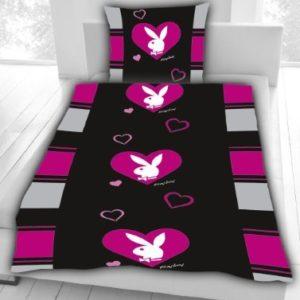 Hübsche Bettwäsche aus Baumwolle - schwarz 135x200 von Playboy