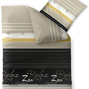 Kuschelige Bettwäsche aus Baumwolle - schwarz 155x200 von CelinaTex