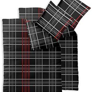 Kuschelige Bettwäsche aus Baumwolle - schwarz weiß 135x200 von CelinaTex