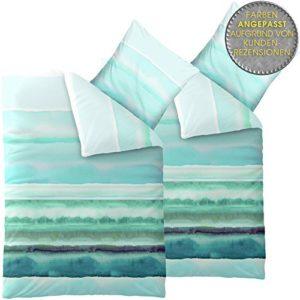 Hübsche Bettwäsche aus Baumwolle - türkis 135x200 von CelinaTex