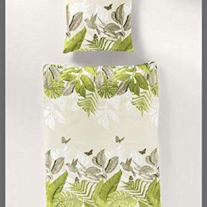 Kuschelige Bettwäsche aus Baumwollsatin - grün 135x200 von Bierbaum