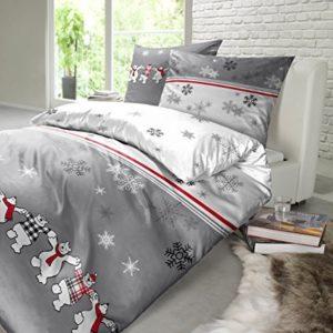 Hübsche Bettwäsche aus Biber - 135x200 von Schiesser