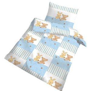 Hübsche Bettwäsche aus Biber - blau 100x135