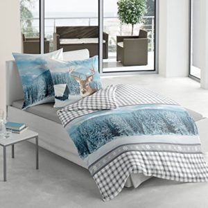Hübsche Bettwäsche aus Biber - blau 135x200 von Bierbaum