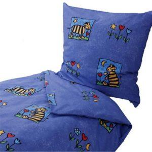 Hübsche Bettwäsche aus Biber - blau 135x200 von Dormisette