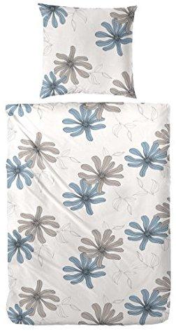Schöne Bettwäsche aus Biber - blau 135x200 von Hahn