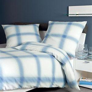 Schöne Bettwäsche aus Biber - blau 135x200 von Janine