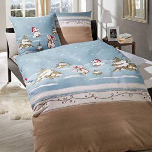 Schöne Bettwäsche aus Biber - blau 135x200 von Kaeppel