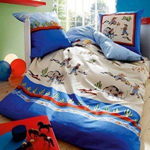 Traumhafte Bettwäsche aus Biber - blau 135x200 von Kaeppel
