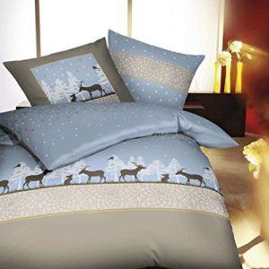Hübsche Bettwäsche aus Biber - blau 135x200 von Kaeppel