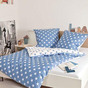 Kuschelige Bettwäsche aus Biber - blau 155x200 von Janine