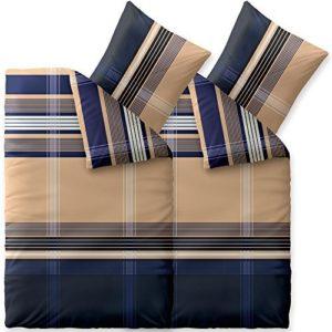 Kuschelige Bettwäsche aus Biber - blau 155x220 von CelinaTex