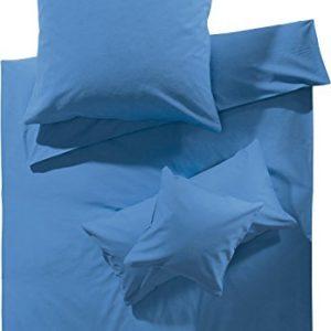 Hübsche Bettwäsche aus Biber - blau 155x220 von Erwin Müller