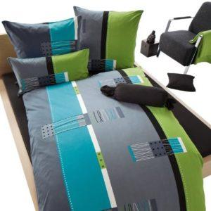 Schöne Bettwäsche aus Biber - blau 155x220 von Erwin Müller