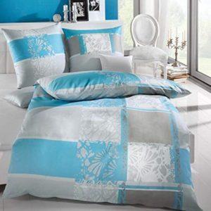 Hübsche Bettwäsche aus Biber - blau 155x220 von Kaeppel