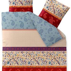 Hübsche Bettwäsche aus Biber - blau 200x200 von CelinaTex
