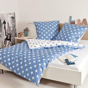Traumhafte Bettwäsche aus Biber - blau 220x240 von Janine