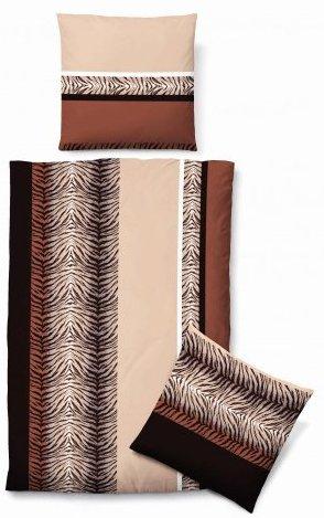 Hübsche Bettwäsche aus Biber - braun 155x220 von Biberna