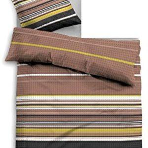 Hübsche Bettwäsche aus Biber - braun 155x220 von TOM TAILOR