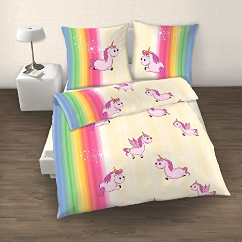 kuschelige bettw sche aus biber einhorn rosa 135x200 von ido bettw sche. Black Bedroom Furniture Sets. Home Design Ideas