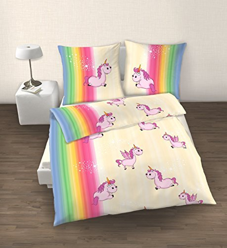 kuschelige bettw sche aus biber einhorn rosa 135x200 von. Black Bedroom Furniture Sets. Home Design Ideas