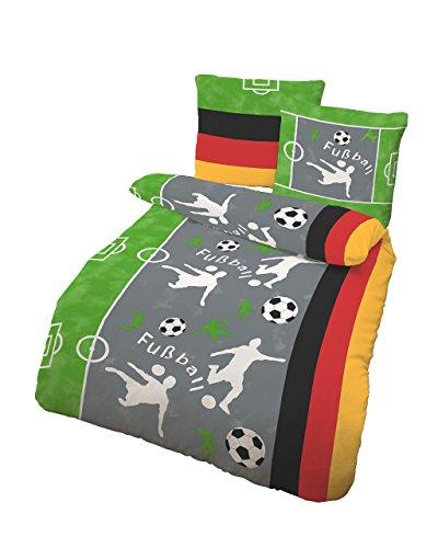 h bsche bettw sche aus biber fu ball grau 135x200 von. Black Bedroom Furniture Sets. Home Design Ideas