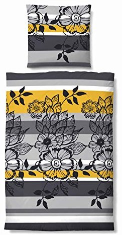 Hübsche Bettwäsche aus Biber - gelb 135x200 von Biberna