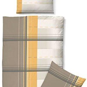 Hübsche Bettwäsche aus Biber - gelb 135x200