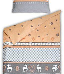 Schöne Bettwäsche aus Biber - grau 135x200 von Schiesser