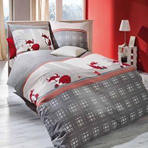 Kuschelige Bettwäsche aus Biber - grau 155x220 von Kaeppel