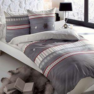 Schöne Bettwäsche aus Biber - grau 155x220 von Kaeppel
