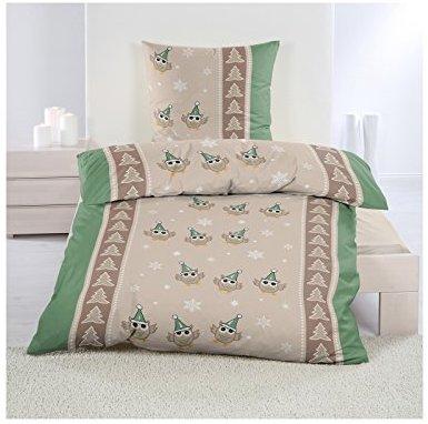 kuschelige bettw sche aus biber gr n 135x200 von. Black Bedroom Furniture Sets. Home Design Ideas