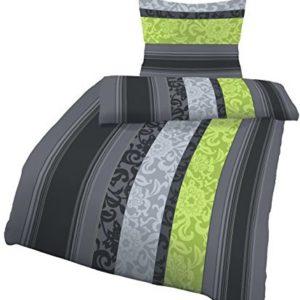 Kuschelige Bettwäsche aus Biber - grün 135x200 von Carhoff