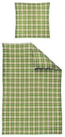 Hübsche Bettwäsche aus Biber - grün 135x200 von Irisette
