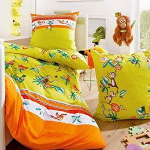 Schöne Bettwäsche aus Biber - grün 135x200 von Kaeppel