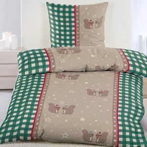 Kuschelige Bettwäsche aus Biber - grün 135x200 von KH-Haushaltshandel