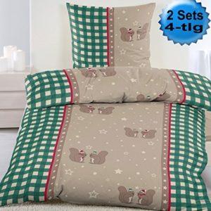 Schöne Bettwäsche aus Biber - grün 135x200 von KH-Haushaltshandel