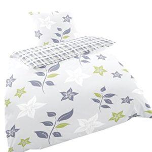 Traumhafte Bettwäsche aus Biber - grün 135x200 von Primera