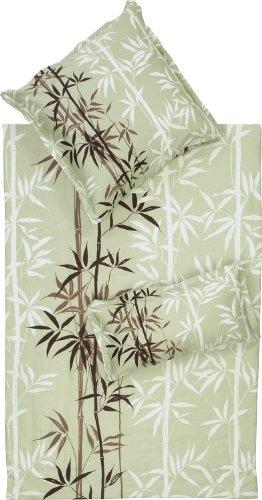 Hübsche Bettwäsche aus Biber - grün 155x200 von Erwin Müller