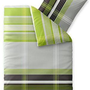 Hübsche Bettwäsche aus Biber - grün 155x220 von CelinaTex